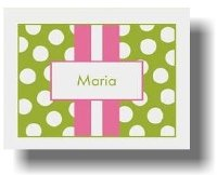 Paparte Note Cards (707 Pink and Green Stripe Name) Green Stripe Note