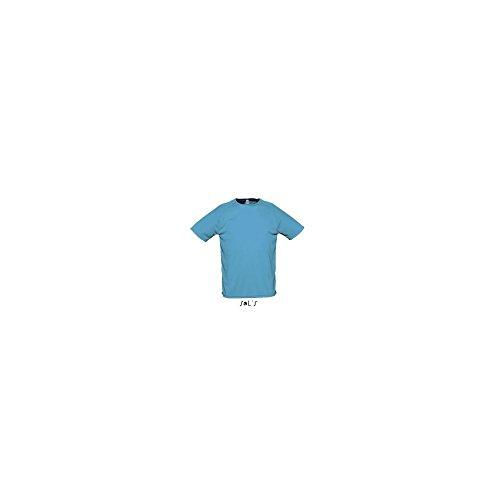 SOLS-SPORTY-T-shirt Sportiva Traspirante Uomo-Colore Acqua-Taglia S