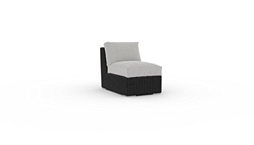 Toja Turo Outdoor Sectional Patio Chair | Wicker Rattan Body with Sunbrella Cushions (Half Round Wicker/Cast Silver) (Chair Wicker Cushion Big With Round)
