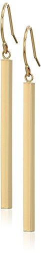 Mom Yellow Earrings (14k Yellow Gold Polished-Stick Dangle Earrings)