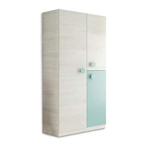 Habitdesign Armario Juvenil, Acabado en Color Blanco Alpes y Verde Acqua, Medidas: 90 cm (Ancho) x 200 cm (Alto) x 52 cm (Fondo) a buen precio