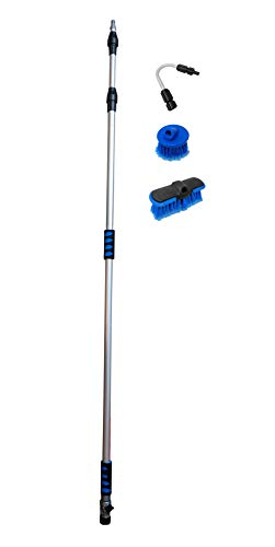 Ladder Be Gone Deluxe Bundle of 4 Items: Extendable Pole, Round Brush, Oblong Brush and GutterGun for High Reach Gutter/Window/Patio Cleaning