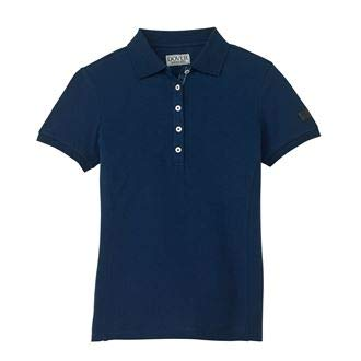 Ribbon Trim Placket - Dover Saddlery Ladies' Polo Shirt, Small, Navy