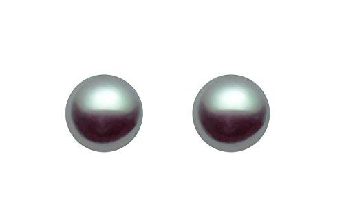 14K White Gold AAAA Quality Gray/Green Tahitian Cultured Pearl Stud Earrings (11-12mm)