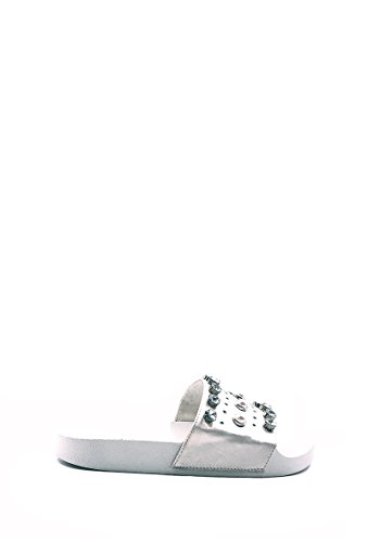 Mules synthétique Strass Sandales Diamant on Femme Slip Blanc Claquettes Satin NANA CHIC z8Hv55