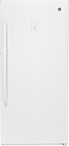 GE FUF14SMRWW 28 Inch Freestanding Upright Freezer with 14.1 cu. ft. Capacity, White Door, Right Hinge, Frost Free Defrost, UL Certification in White