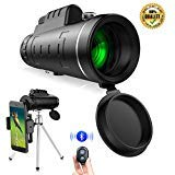 Monocular Telescopes, IHOMKIT 40x60 BAK4 Prism Waterproof Spotting Monocular Scopes, Low Night Vision for Outdoor Bird Watching Hunting Camping Hiking,with Tripod and Phone Clip Adapter,Black