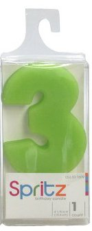 Spritz Molded # 3 Birthday Candle Green (1 Count)