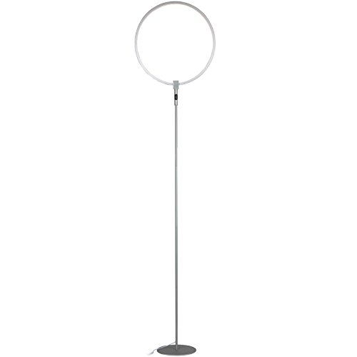 Brightech – Eclipse LED Floor Lamp Single Ring – Ring of Light Brings Sci-Fi Ambiance to Contemporary Spaces – 15 Watts – Dimmable Bright Light - Silver