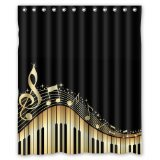Musical Notes With Piano Waterproof Fabric Polyester Bathroom Shower Curtain with 12 Hooks 60'(w) x 72'(h)