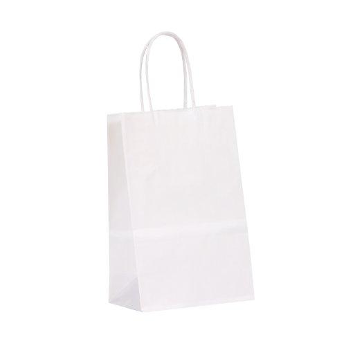 Sacchetti con manico a spirale, 14 cm, colore: bianco, in carta kraft, sacchetti, scatole da 400