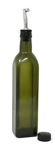 nicebottles - Olive Oil Dispenser with Stainless Steel Flip-Top Pourer, Dark Green, Square, 500ml