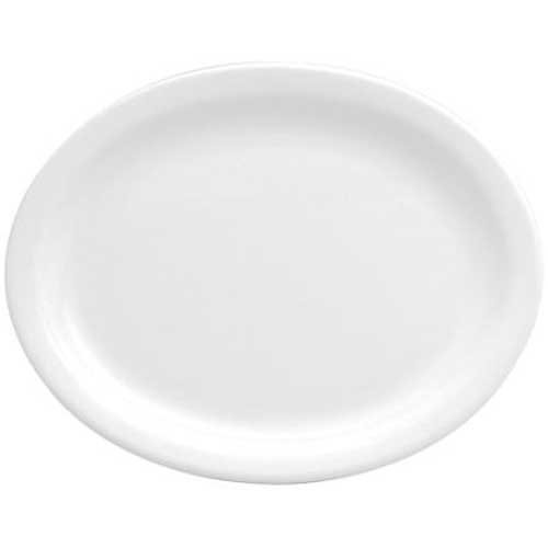 Buffalo Bright White Narrow Rim Undecorated Platter, 11 1/2 inch - 12 per case.