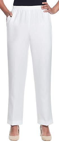 Alfred Dunner Classics Elastic Waist Pants White 10 ()