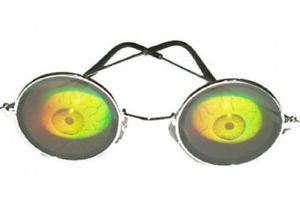 2 PAIR Round Eye Ball Hologram 3d party - Sunglasses Hologram