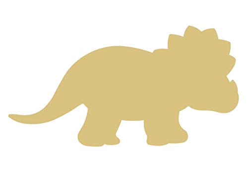 (Triceratops Cutout Unfinished Wood Dinosaur Dino Animal Reptile Jurassic MDF Shape Canvas Style 1)