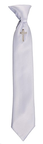 Boys Communion Neck Tie White with Silver Embroidered Religious Cross (Boys 13