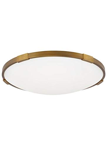 Transitional Lance 18 Ceiling Flush & Semi-Flush Mount in Aged Brass with Frosted Glass Diffuser