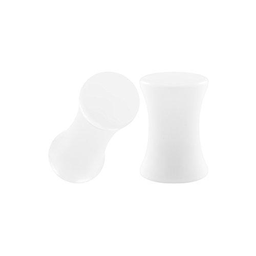 BIG GAUGES Pair of White Acrylic 4gauges 5 mm Double Flare Piercing Jewelry Ear Plug Stretcher Lobe Earring BG0435