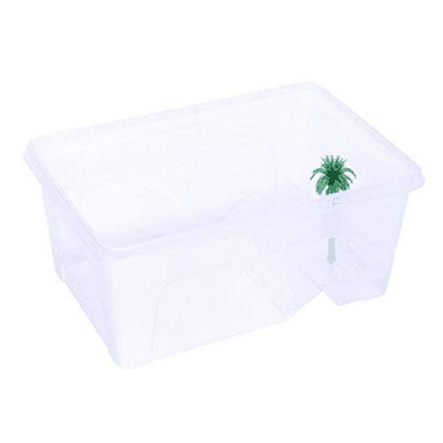 31  24  15cm Turtle Breeding Box Pet Reptile Tank Insect House Aquarium with Balcony Transparent White M   Clear, M