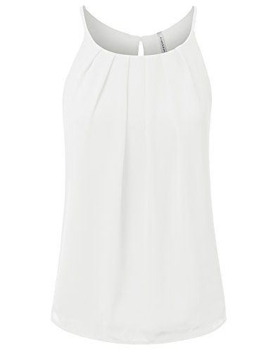 JJ-Perfection-Womens-Round-Neck-Front-Pleated-Chiffon-Cami-Tank-Top