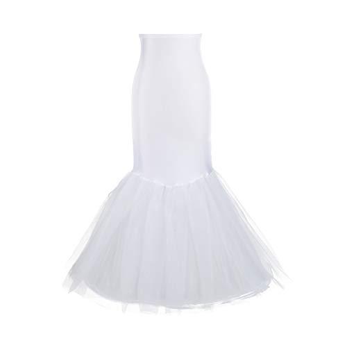 (Mermaid Petticoat for Mermaid Prom Gown Crinoline Slips Underskirt for Mermaid Wedding Dress(Small-White))