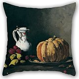 Artistdecor Oil Painting Théodule-Augustin Ribot - Still Life With Pumpkin, Plums, Cherries, Figs And Jug Pillowcover 18 X 18 Inches / 45 By 45 Cm Gift Or Decor For Coffee House,valentine,kitchen,