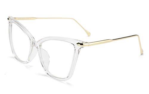 FEISEDY New Oversized Cat Eye Glasses Frame Non prescription Eyewear for Women B2460