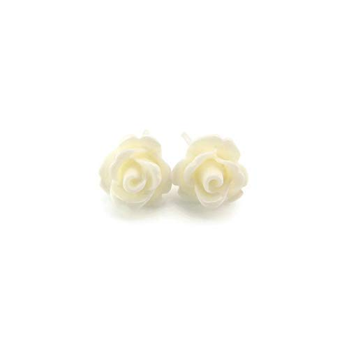9mm Small Winter White Rose Studs, Hypoallergenic Plastic Post Earrings Metal Sensitive Ears