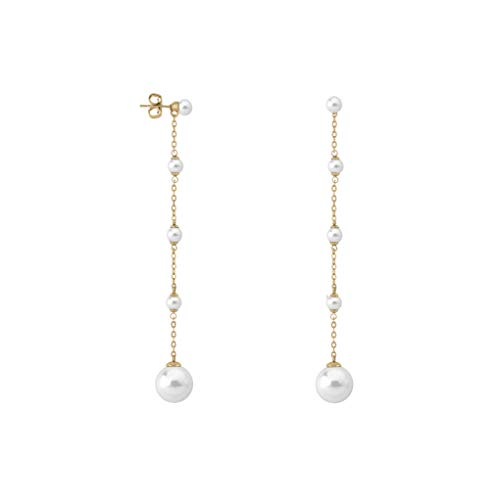 Majorica Rosa 5-12MM White Round Pearl And Cz Gold Plated Silver Linear Earrings by Majorica (Image #1)