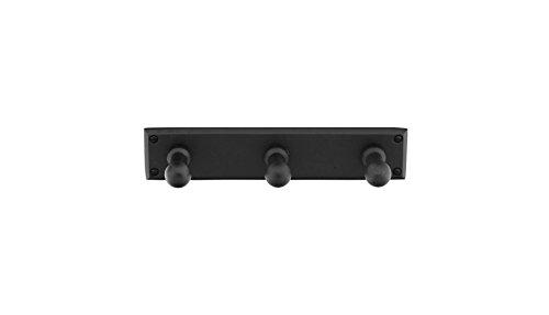 Emtek 2307 Sandcast Bronze 3 hooks with Rectangular Plate with 3 finish options (Flat Black Bronze Patina (FB))