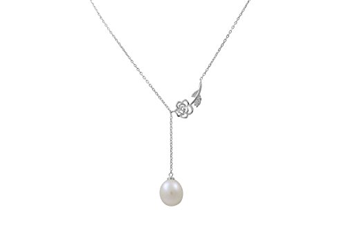 (Alice Yan Jewelry Rose Pearl Necklace Freshwater Cultured 18K White Gold Over Sterling Silver for Women)