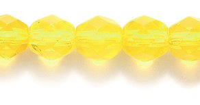 Preciosa Czech Fire 6 mm Faceted Round Polished Glass Bead, Transparent Medium Jonquil, 150-Pack