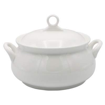 (Prestige Kitchen White Porcelain Soup Serving Tureen Pot Oven to Table 3 Quart)