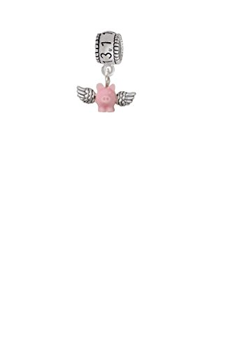 - Mini Pink Flying Pig Half Marathon 13.1 Run Charm Bead