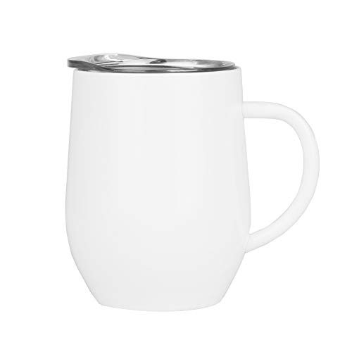 Wine Tumbler With Lid and Handle, 12 oz Stainless Steel Insulated Double Wall Travel Mug Coffee Cup for Red Wine, Coffee,Cocktail, Liquors Champagne and Nonalcoholic Beverages(White)