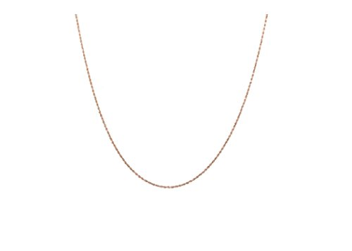 14K Gold 0.8MM Thin Rope Chain Necklace- Available in Yellow, White or Rose-16-24