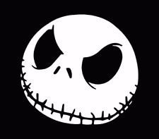 [Jack Face Nightmare Before Christmas Decal Vinyl Sticker|Cars Trucks Walls Laptop|WHITE|5 in|KCD490] (Easy Sally Costumes)