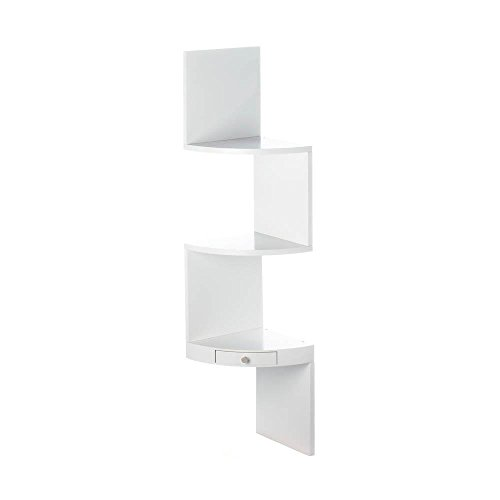 Accent Plus Decorative Corner Shelf, White Organizer Bathroom Wood Corner Shelf Wall, Drawer by Accent Plus