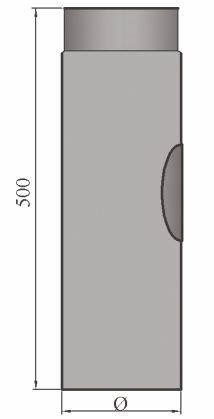 LANZZAS Rauchrohr Ofenrohr Kaminrohr Verlängerung 500 mm mit Reinigungsöffnung Ø 130 mm grau