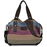 Coofit Stripe Leisure Canvas Top Handle Cross Body Bag Tote Handbags