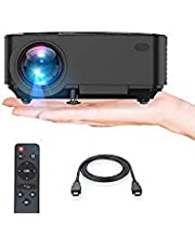 "Projector, Upgraded TENKER Projector, 60% Brighter, Mini Home Theater Movie Projector with 4.0"" LCD and Up to 176-inch Display, Supports 1080P HDMI/USB/SD Card/AV/VGA for TVs/Laptops/Games"