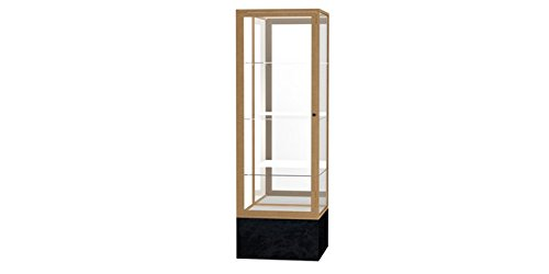 (Monarch Series Floor Display Case Base Color: Black Marble, Case Backing: Mirror, Frame Color: Champagne Gold)
