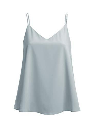 Ecupper Women's Strappy V Neck A-line Cami Shirt Layered Chiffon Fashion Camisole Vest Tank Top Grey 12-14/ XL