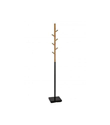 Wadiga Perchero de pie en Metal Negro y bambú: Amazon.es: Hogar