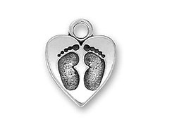 Silver Pewter Lead-free Baby Footprints  - Footprints Heart Shopping Results