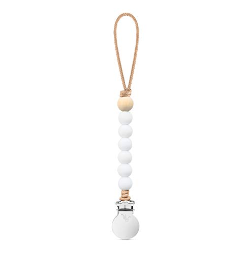 Ryan & Rose Beaded Pacifier Cutie Clip (White, Charley)
