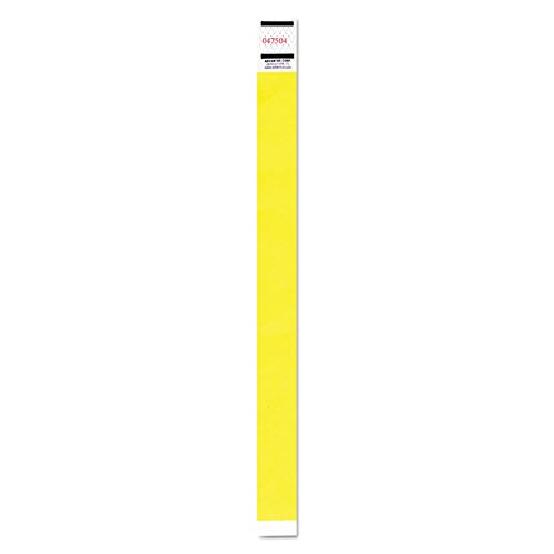Advantus 91123 Crowd Management Wristband, Sequential Numbers, 9 3/4 x 3/4, Neon Yellow,500/PK