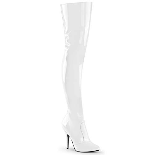 Pleaser Women's Seduce-3010 Thigh High Boot,White Patent,7 M ()