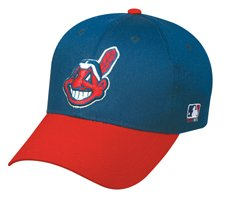MLB YOUTH Cleveland INDIANS Home Blue/Red Hat Cap Adjustable Velcro TWILL